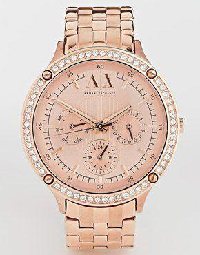 2b302d9166a6 Armani Exchange AX5406 Rhinestone Surround Chronograph Watch Relojes