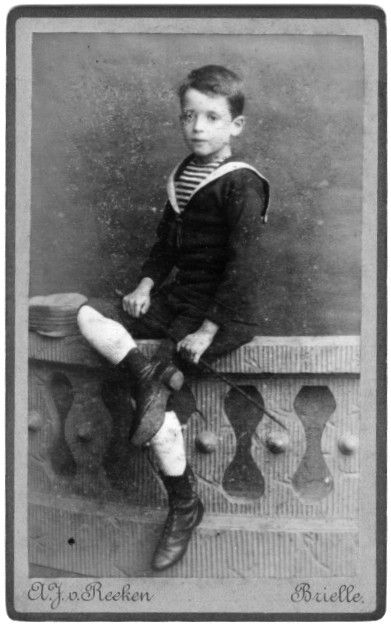 Dutch boy in sailor suit. Photostudio A.J. van Reeken Brielle, july 1887