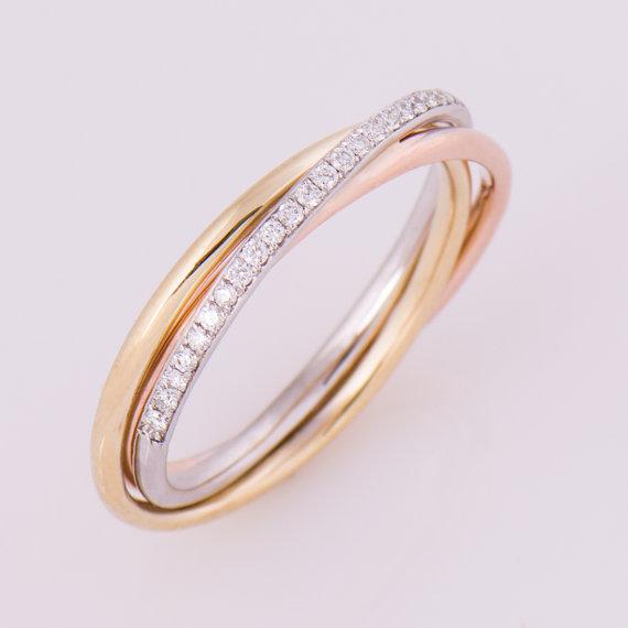 Three Tone Ring 14k 18k Gold Diamonds Band Anniversary Ring