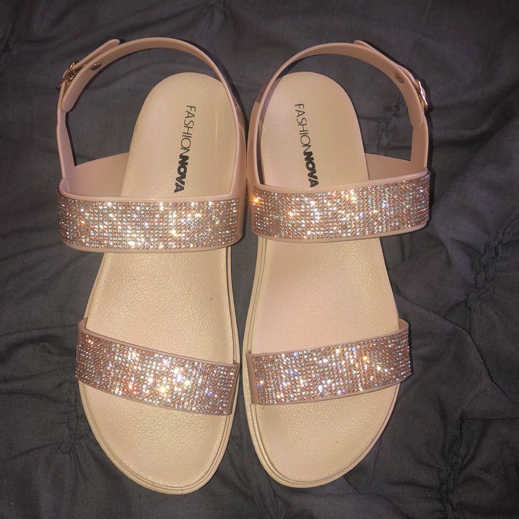 Fashion Nova Shoes   Fashion Nova Rhinestone Sandals, Beige