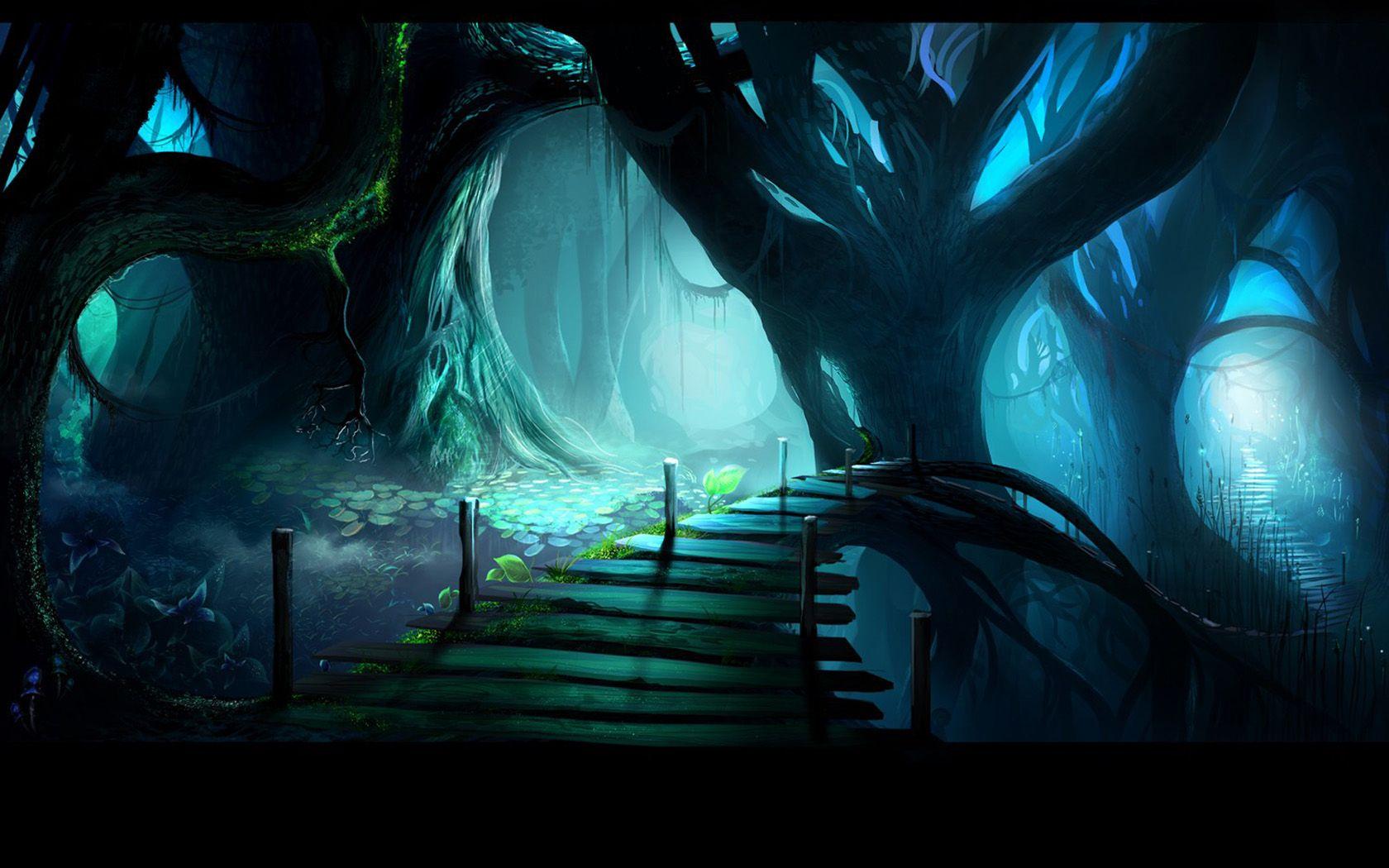 Fantasy Forest Night Wallpaper Hd Wallpaper Fantasy Landscape Landscape Scenery Fantasy Forest