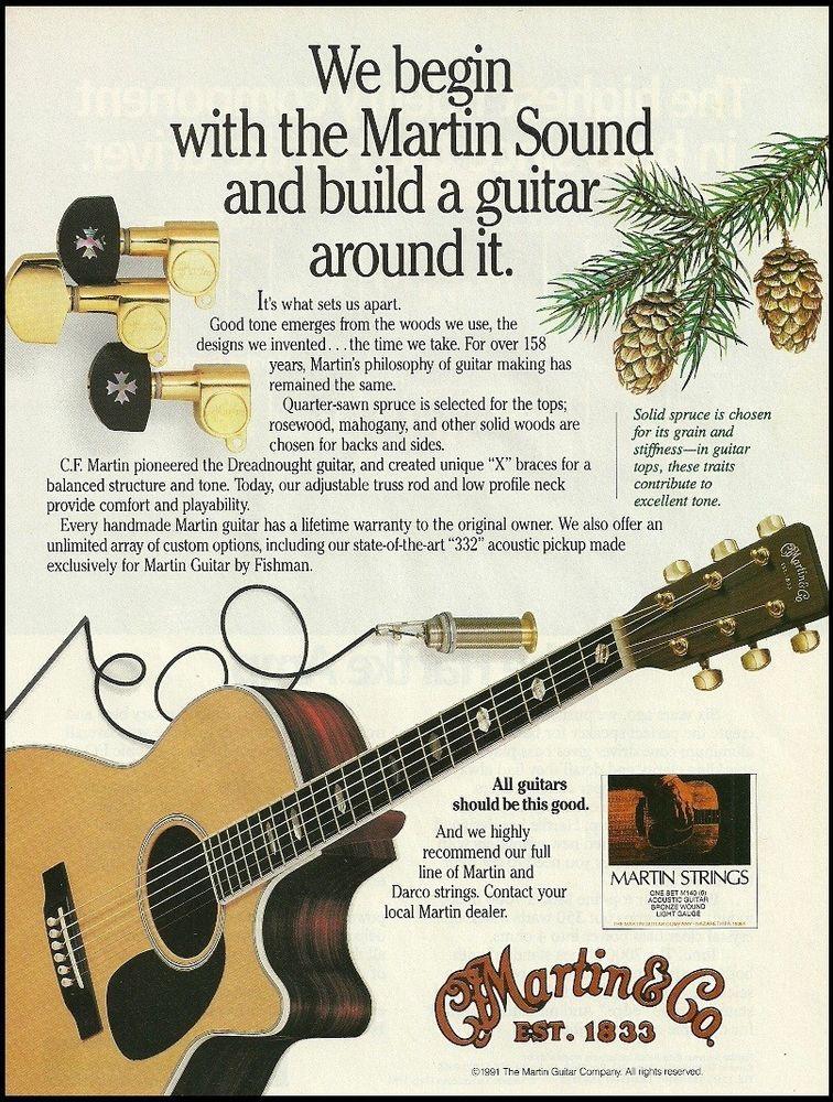 Martin Dreadnought Acoustic Guitar Strings 8 X 11 Advertisement 1991 Ad Print Martin Acoustic Guitar Strings Martin Guitar Guitar