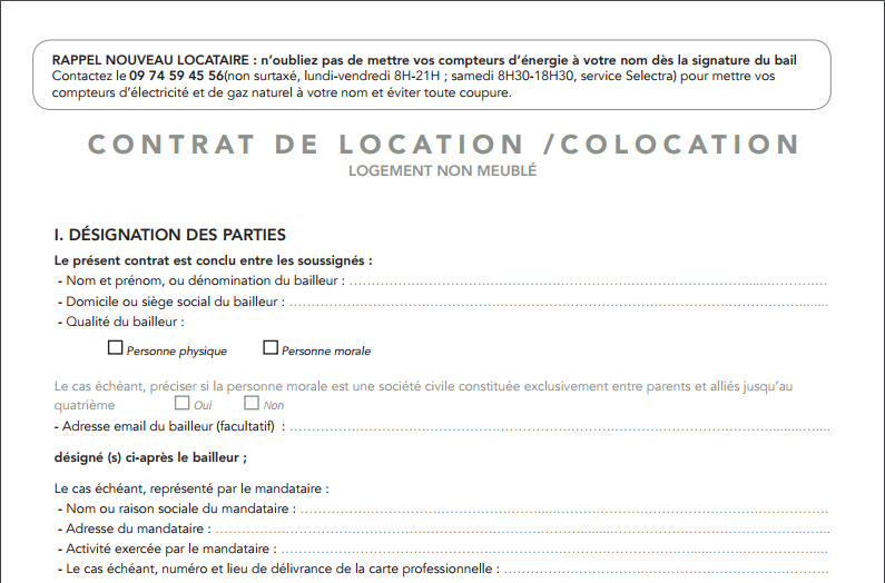Contrat De Bail Pour Logement Non Meuble Bail Pdf Contrat De Location Contrat De Bail Location