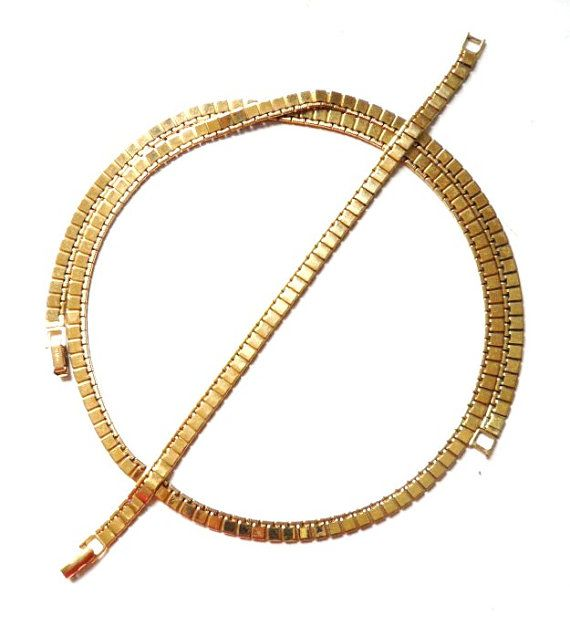 Vintage MONET Goldtone Flat Link  Necklace and by BajanLizard, $34.99