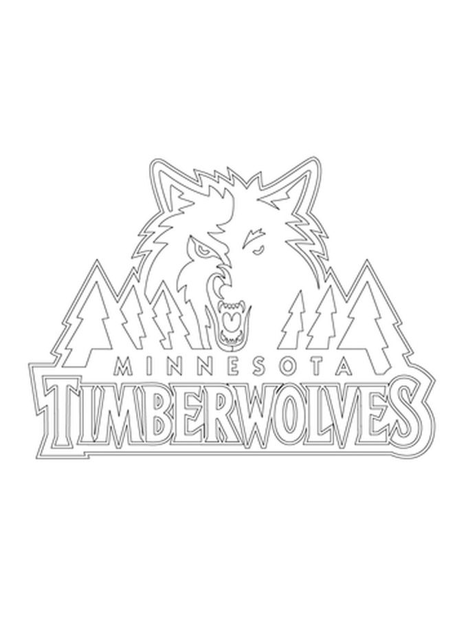 Minnesota Timberwolves Logo Nba Coloring Pages Sports