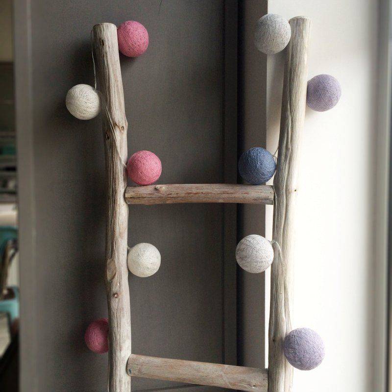 Lampki Dekoracyjne Kule Cotton Balls Biało Różowe