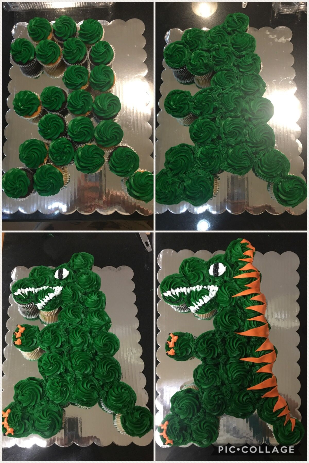 Home Made T Rex Dinosaur Cupcake Cake Using Grocery Store Bakery