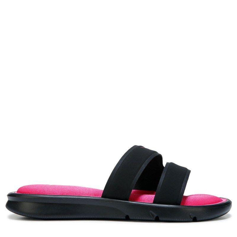 Nike Women's Ultra Comfort Slide Sandals (Black/Vivid Pink)