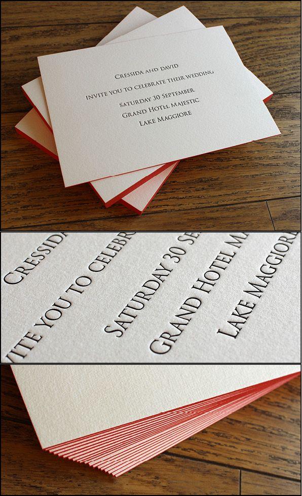 Letterpress wedding invitations printed in black 1 side
