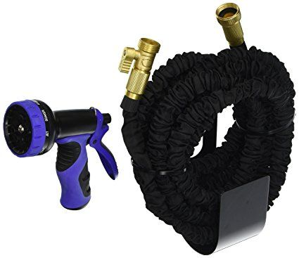 WORLD'S STRONGEST Expandable Garden Hose with MADE IN USA inner tube material. Garden Hose, Expanding Hose, Flexible Hose, Expandable Hose Set(50 ft, Black)