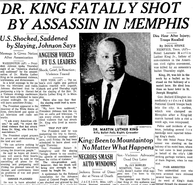 A newspaper article about the assassination of dr martin luther a newspaper article about the assassination of dr martin luther king jr published fandeluxe Images