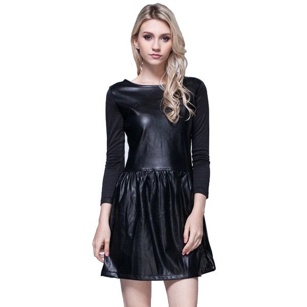 LUCLUC Black Long Sleeves Pu Skater Dress ($18) ❤ liked on Polyvore featuring dresses, longsleeve dress, long-sleeve skater dresses, long sleeve skater dress, pu dress and long sleeve dress