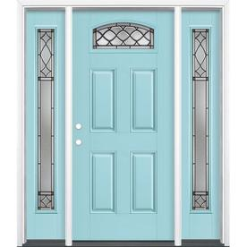 Masonite Sheldon 1 4 Lite Decorative Glass Right Hand Inswing Caribbean Blue Painted Fiberglass Pre Hung Entry Door With Entry Doors Entry Door With Sidelights Front Door Colors