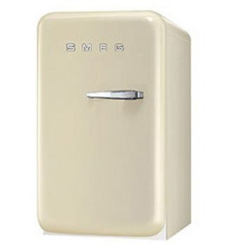 """Smeg FAB5ULP 24"""" Retrp Seroes Left-Hinged Undercounter Refrigerator in Cream Color with Balcony Shelf and Bottle Storage"""