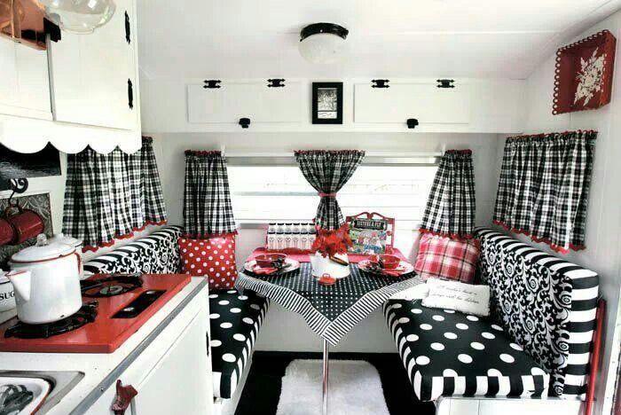 Black And White W Red So Cute If I Had A Camper Glamper