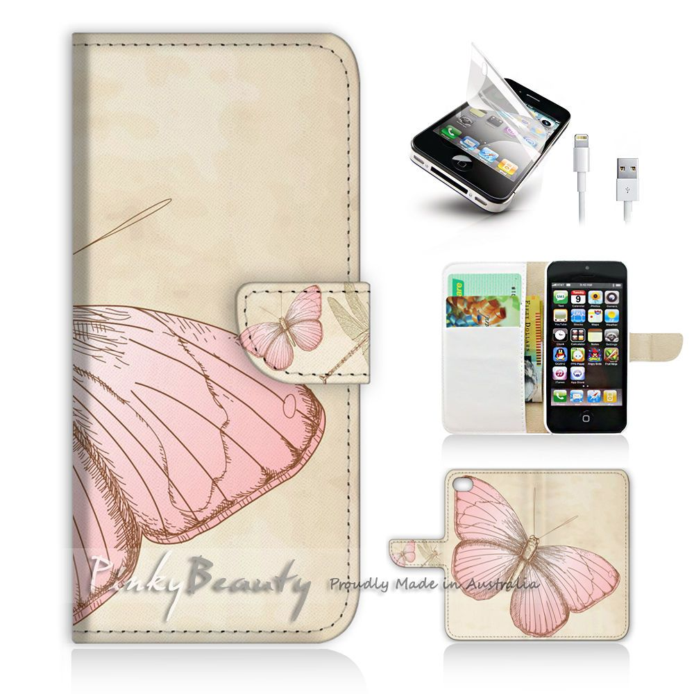 size 40 9c37e 0b96a $12.99 AUD - ( For Iphone 5 / 5S / Se ) Wallet Case Cover! Butterfly ...