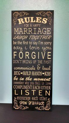 rules for a happy marriage sign wedding gift anniversary bride groom bridal shower
