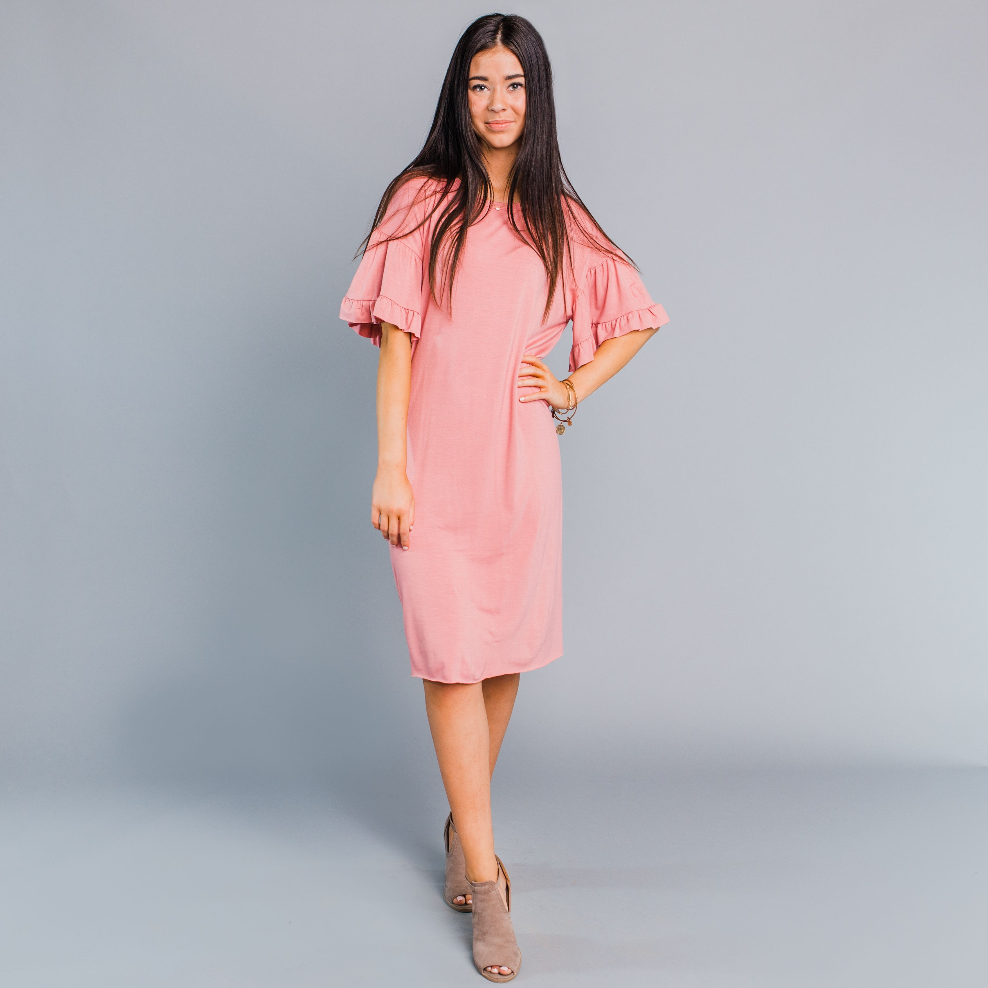 Peach dress for wedding guest  Titan Ruffle Sleeve Dress  Mauve  Prom Hoco yes  Pinterest