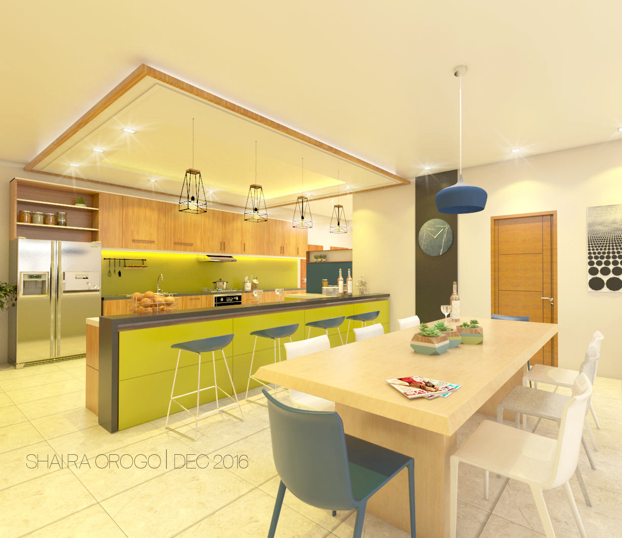 Kitchen,Dining Interior, Four-storey House Navotas
