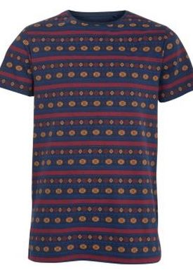 Navy and Red Stripe Print T-Shirt by New Look