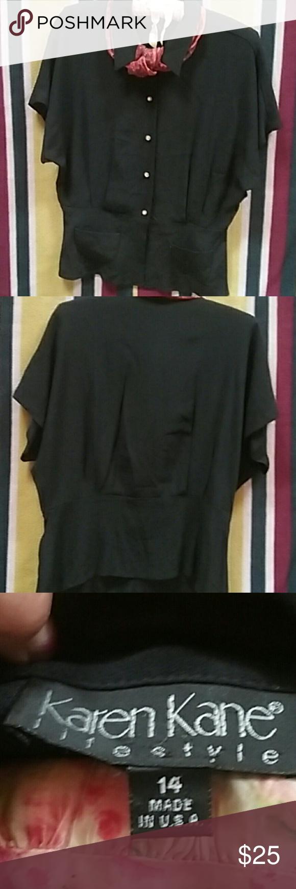 Top Vintage Karen Kane rhinestone button down short sleeve 2 pocket blouse. Tapered waistline excellent condition. vintage Karen kane Tops Blouses