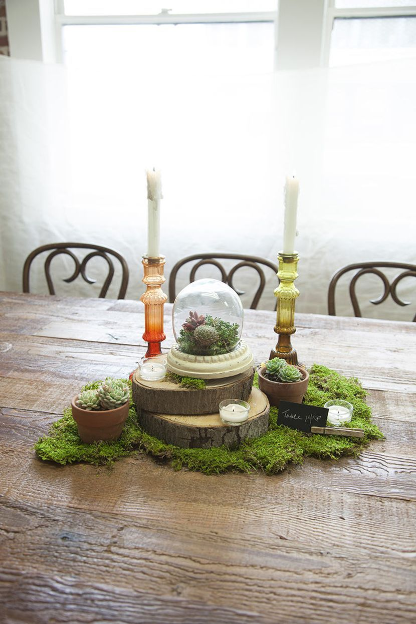 DIY moss and candle wedding tablescape | Wedding Centerpieces ...