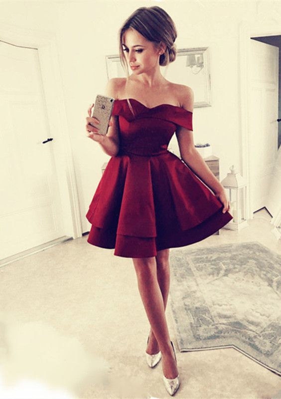 9ea0513635c Pretty A-line V-neck Off The Shoulder Homecoming Dresses Short Burgundy Prom  Dresses For Cocktail Party #partydress