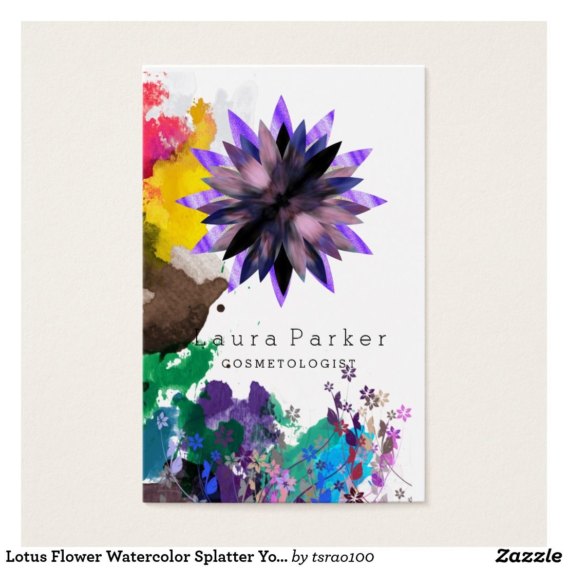Lotus flower watercolor splatter yoga holistic spa business card lotus flower watercolor splatter yoga holistic spa izmirmasajfo