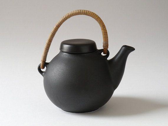 Finnish Mid Century Arabia Black Ga1 Ceramic Teapot Design Ulla