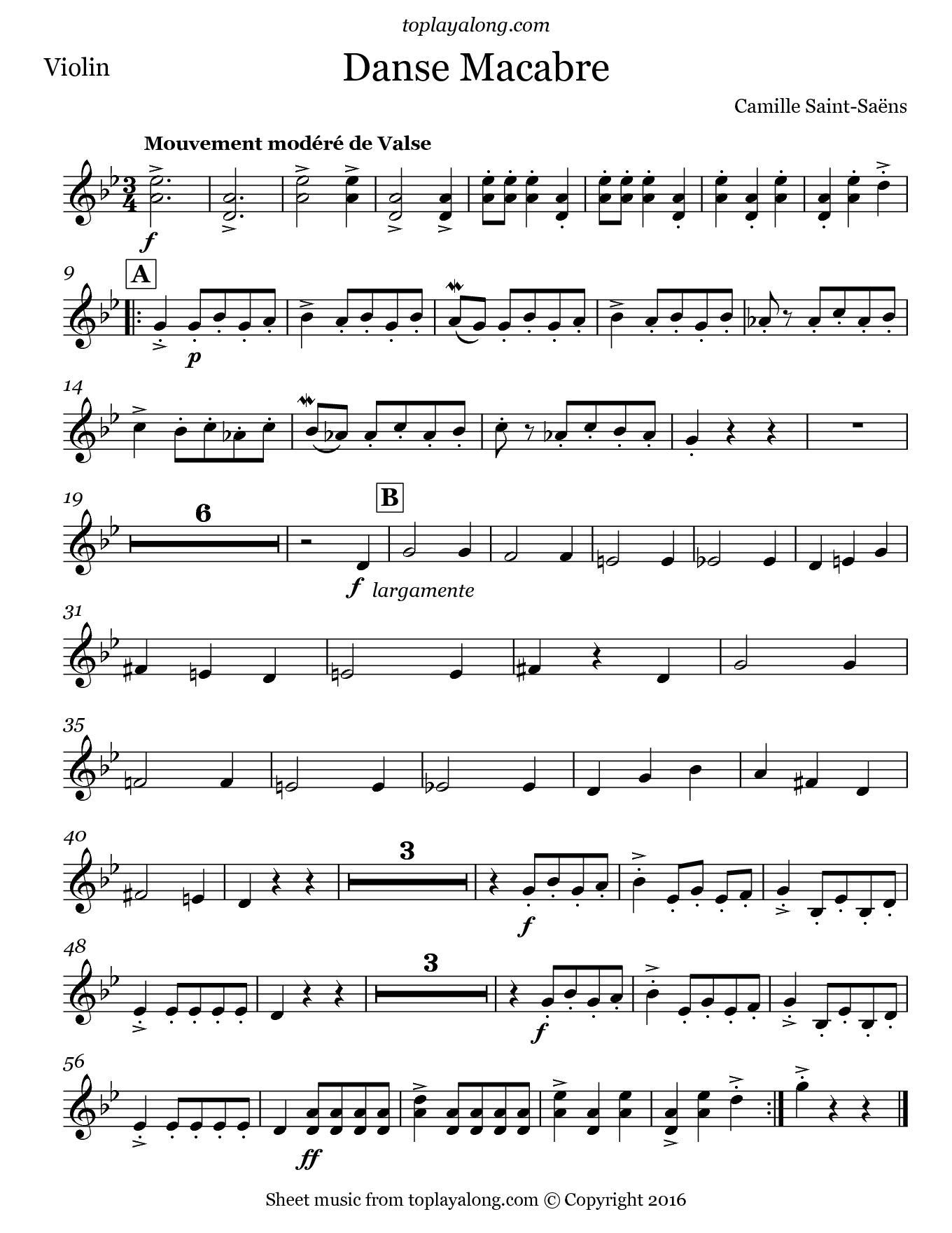 Danse Macabre by Saint Sa ns Free sheet music for violin Visit toplayalong