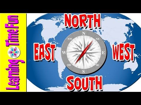 North South East West Cardinal Directions Geography For Kids - Map videos for kids