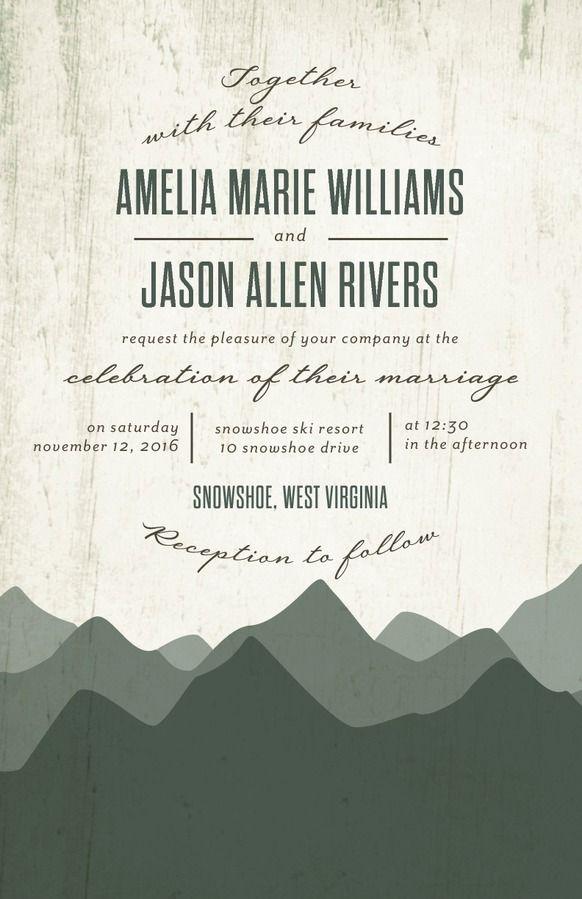 wedding invitations divas%0A Rustic Horizon  Signature White Wedding Invitations in Willow or Wave    Sarah Hawkins Designs