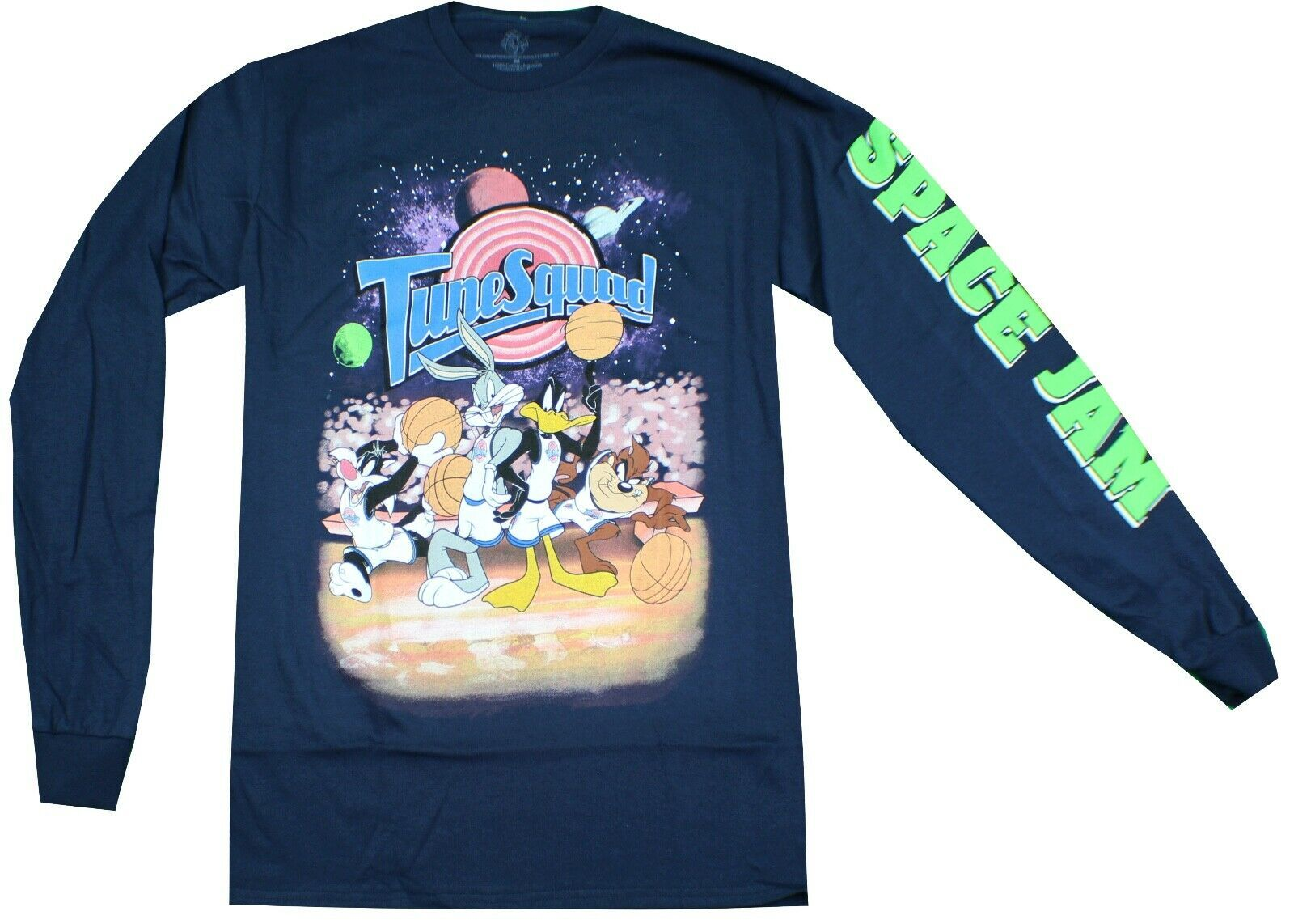 Loony Tunes Space Jam Tunes Squad Long Sleeve Shirt Navy Retro Movie Tee Mens Space T Shirt Ideas Of Long Sleeve Shirts Space Shirts Long Sleeve Tshirt Men