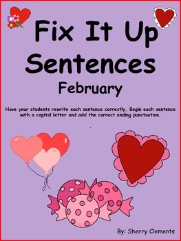 February Fix It Up Sentences  Capital Letters and Ending
