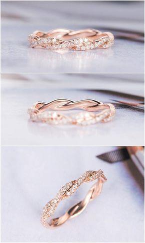 Rose Gold Ehering Frauen Twist Diamant Ehering Unendlichkeit voller Ewigkeit zie…