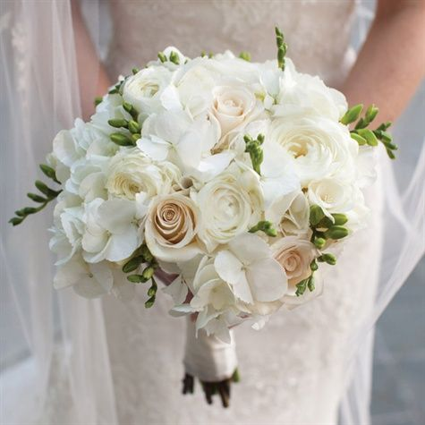 Cream And White Roses Hydrangeas And Ranunculus Blush And White