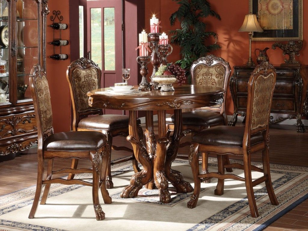 Kitchen Pleasing Counter Height Dining Table With Leather Chairs