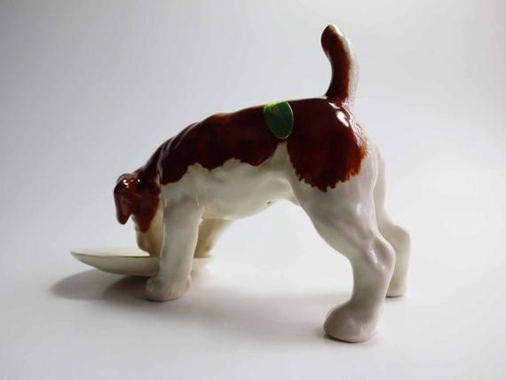Vintage Beswick English Porcelain Airedale Terrier Eating with Foot in Dog Dish Hand Painted…