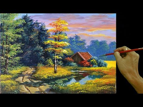 Acrylic Landscape Painting Tutorial House Beside The River