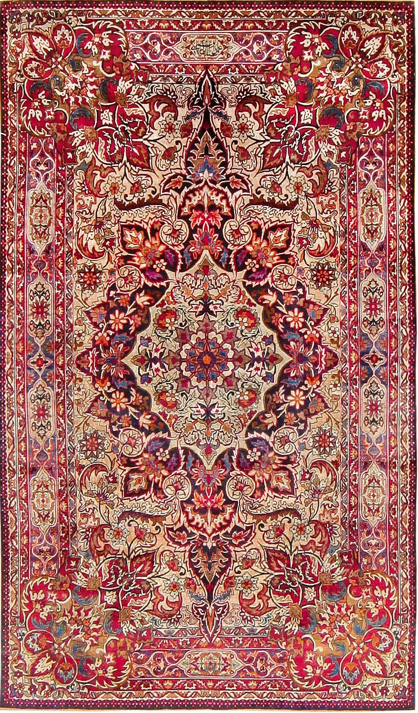 Antique silk persian kermani rug 47591 main image by for Home inspired by india rug