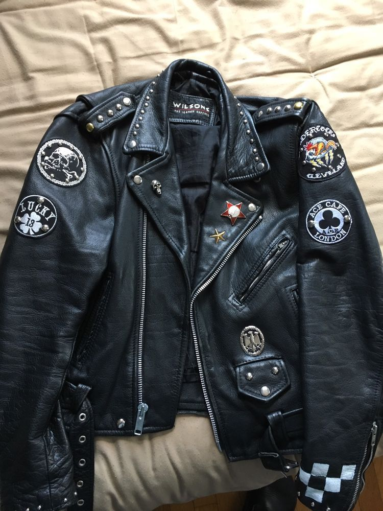 Men's Motorcycle Jacket Leather Rocker Cafe Racer Punk