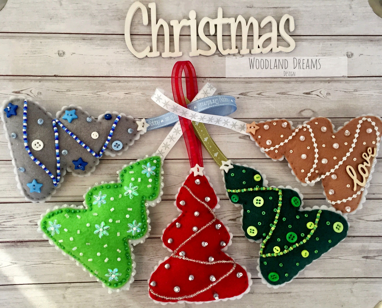 Felt Christmas Tree Ornaments Patterns.Embellished Beaded Handmade Felt Christmas Tree Ornaments