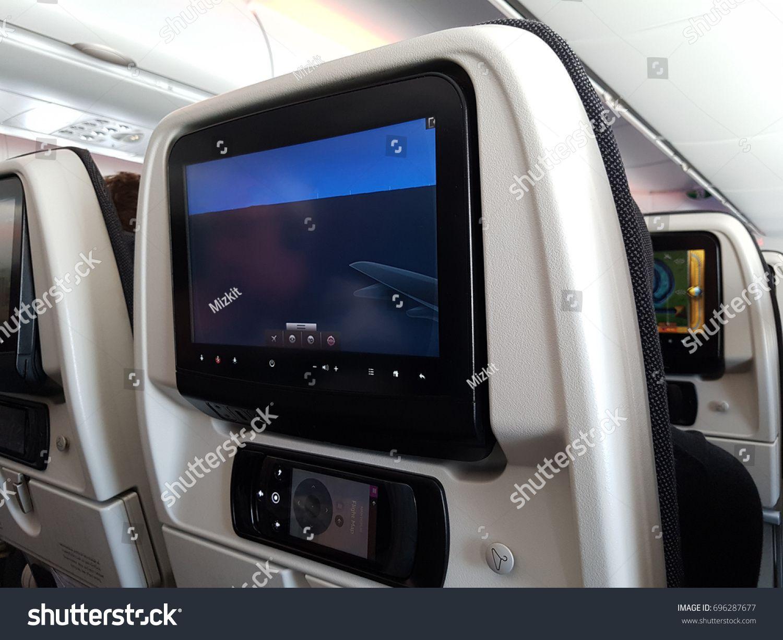 Qatar Doha - 3 August 2017 Qatar Airways Inside airplanes interior view LCD screen in an airplane #Ad , #ad, #Airways#August#Qatar#Doha