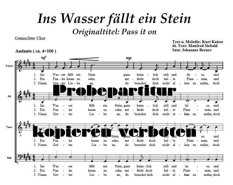 Ins Wasser fällt ein Stein (Gemischter Chor)   Chor