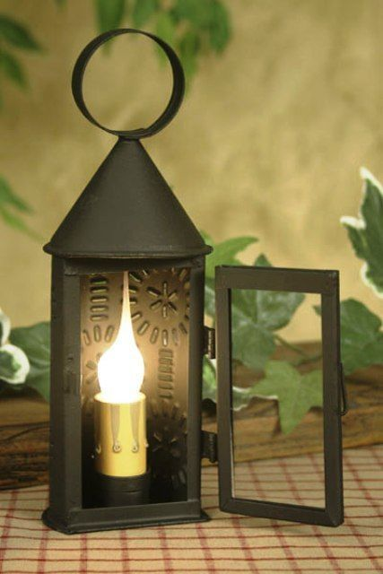 New Primitive Colonial Style Punched Tin Revere Lantern Electric ...