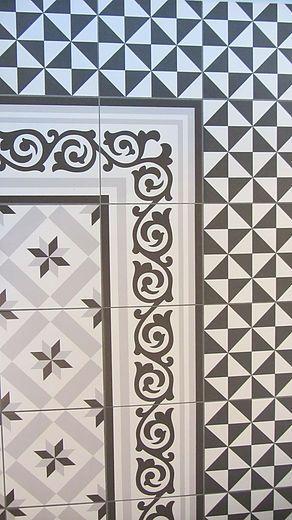 Vives Ceramica 1900 tiles, Terrades Grafito und Calvet Gris.  Schöne Plättli für Innen und Aussen aus Keramik. Vintage Plättli . Hexagone…