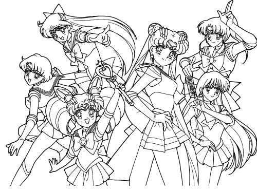 sailor moon and friend familiar coloring pages