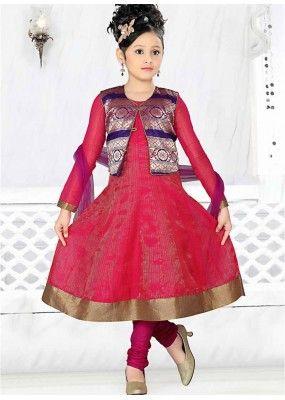126a5c8e91eb0 Kids Wear Girl Pink & Violet Cotton Anarkali Suit - 48314   Kids ...