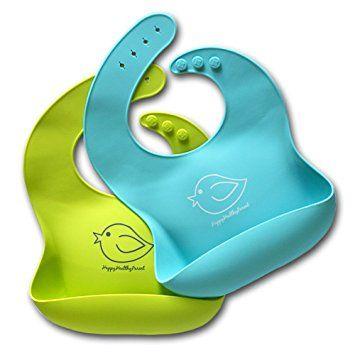 Babero impermeable de silicona que se limpia f/ácilmente Pasa menos tiempo limpiando despu/és de las comidas con beb/és o ni/ños peque/ños. C/ómodos baberos flexible que evitan las manchas