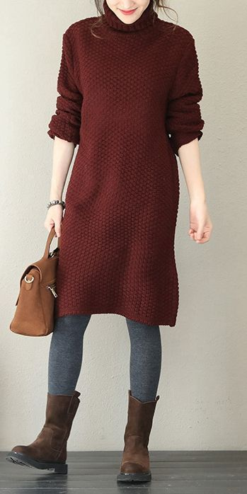 b4c37d37cca Women Casual High Neck Sweater Dresses For Winter Q1758 in 2018 ...
